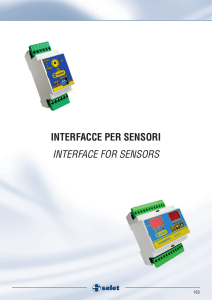 INTERFACCE PER SENSORI INTERFACE FOR SENSORS