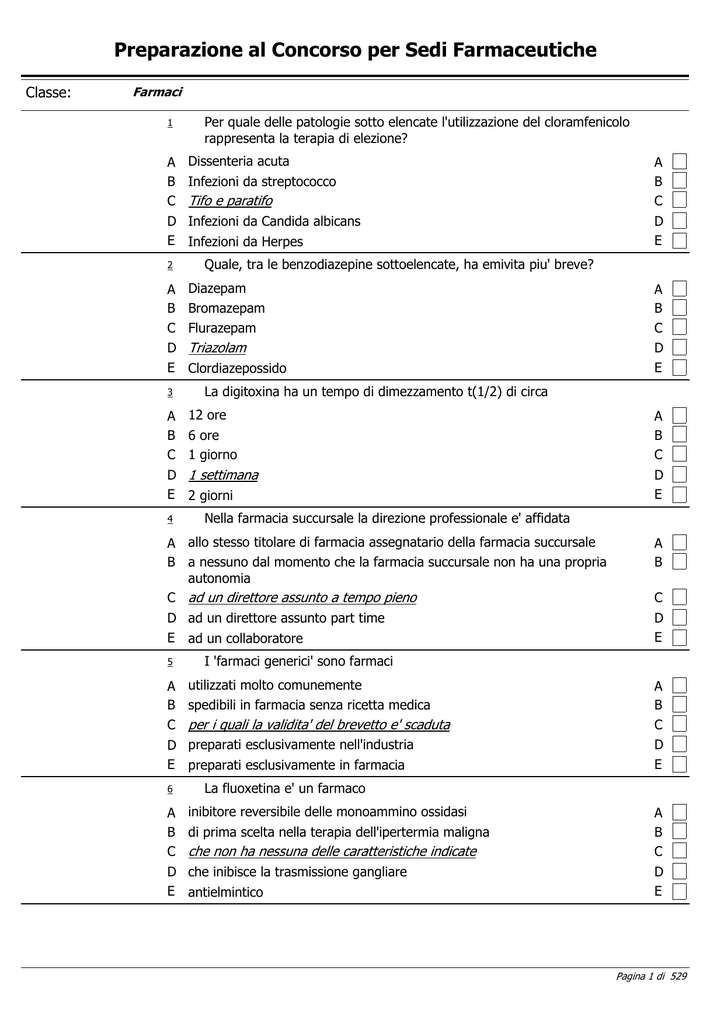 5d0890dc7 Archivio completo dei quiz - Ordine dei Farmacisti di Napoli