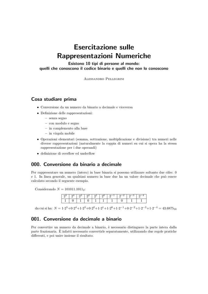 Esercitazione Sulle Rappresentazioni Numeriche