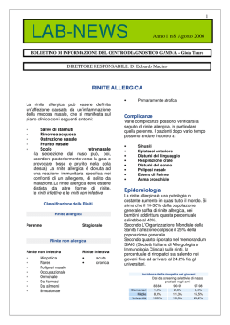 rinite allergica - Centro Diagnostico Gamma