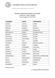 "Elenco vincitori borsa di studio ""Exploit your talent"" - aa 2015"