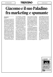 Giacomo e il suo Paladino fra marketing e spumante