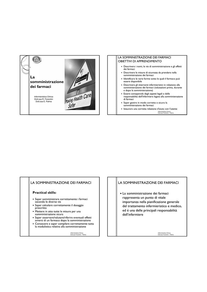 Farmaci E Infermiere Un Prontuario Per La Somministrazione.Somministrazione Far Facolta Di Medicina E Chirurgia