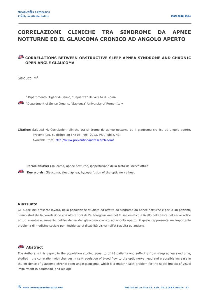 a2df72349 Freely available online ISSN:2240-2594 CORRELAZIONI CLINICHE TRA SINDROME  DA APNEE NOTTURNE ED IL GLAUCOMA CRONICO AD ANGOLO APERTO CORRELATIONS  BETWEEN ...