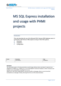 MS SQL Express installation and usage with PHMI projects