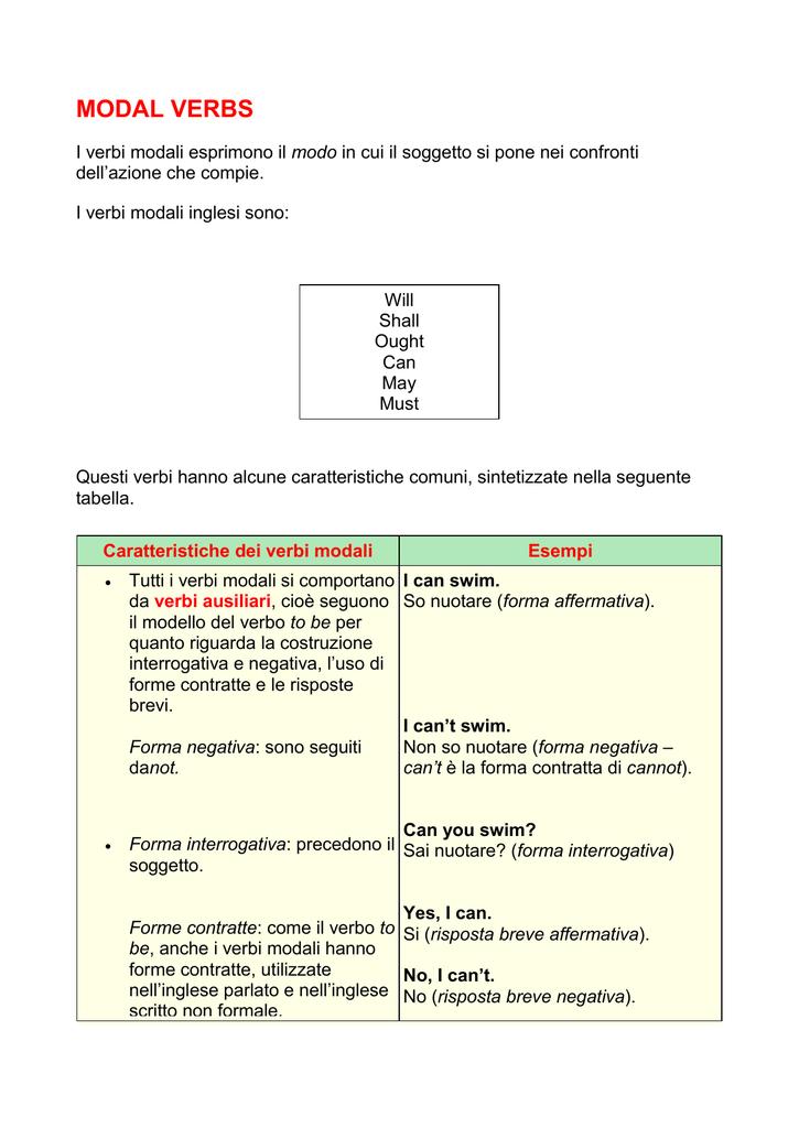 VERBI AUSILIARI INGLESE PDF