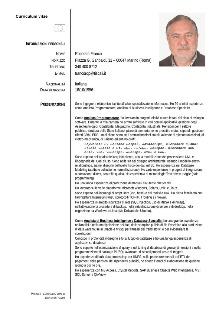 Esempio Curriculum Vitae Tecnico Elettronico Asdent