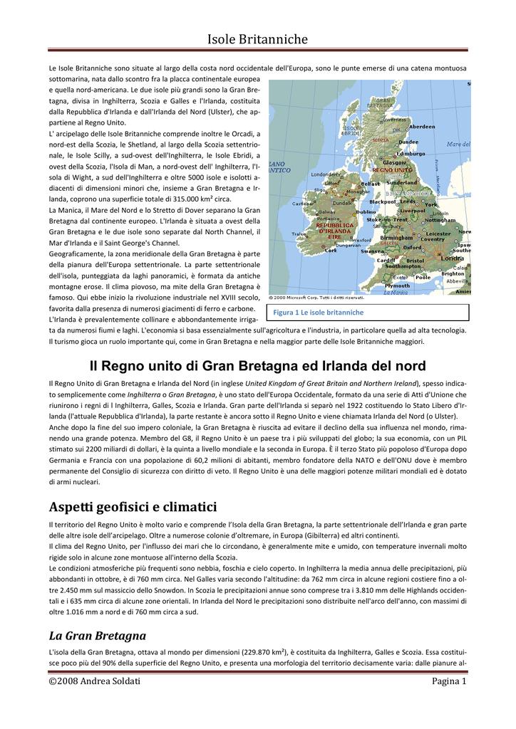 Cartina Geografica Inghilterra E Scozia.Isole Britanniche Il Regno Unito Di Gran Bretagna Ed Irlanda Del