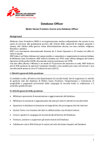 Database Officer - Medici Senza Frontiere