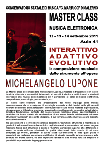 La Master class del compositore Michelangelo Lupone, articolata in
