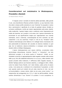 Considerazioni sul metateatro in Shakespeare, Pirandello