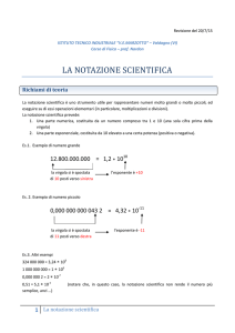 la notazione scientifica - Polo di e-learning