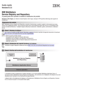 Guida rapida IBM WebSphere Service Registry and Repository