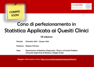 Statistica Applicata ai Quesiti Clinici