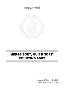 merge sort, quick sort, counting sort