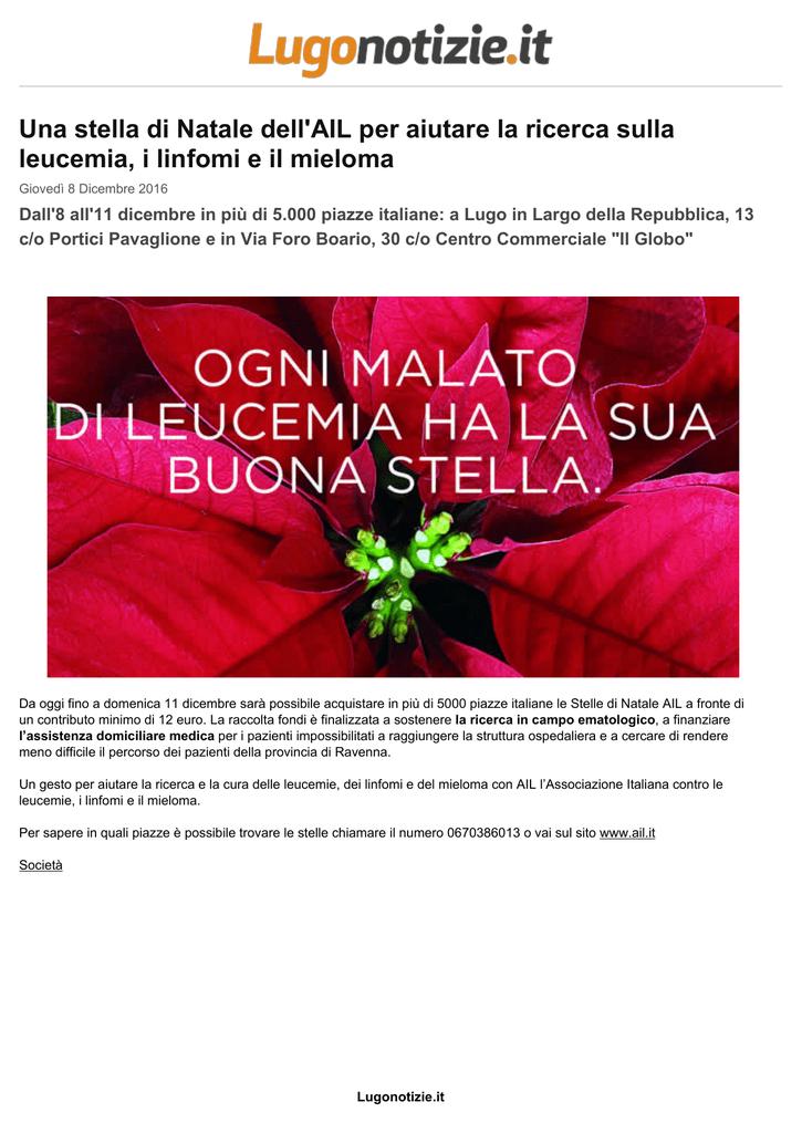 Stella Di Natale Piazze Italiane.Una Stella Di Natale Dell Ail Per Aiutare La Ricerca