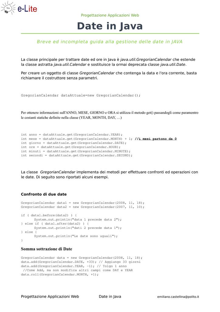 Gestione delle date in Java - e-Lite