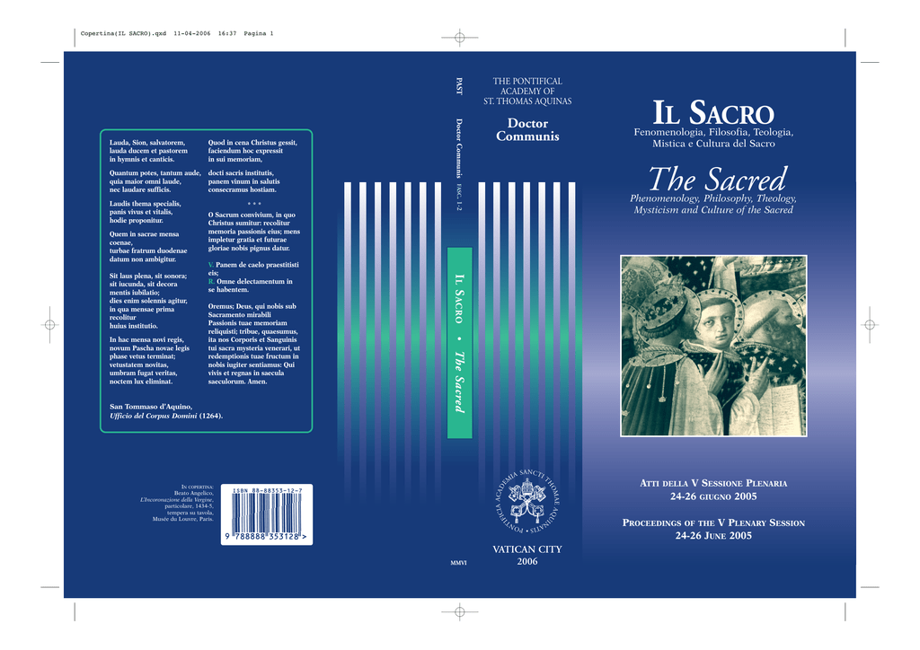 Il Sacro  Fenomenologia, Filosofia, Teologia