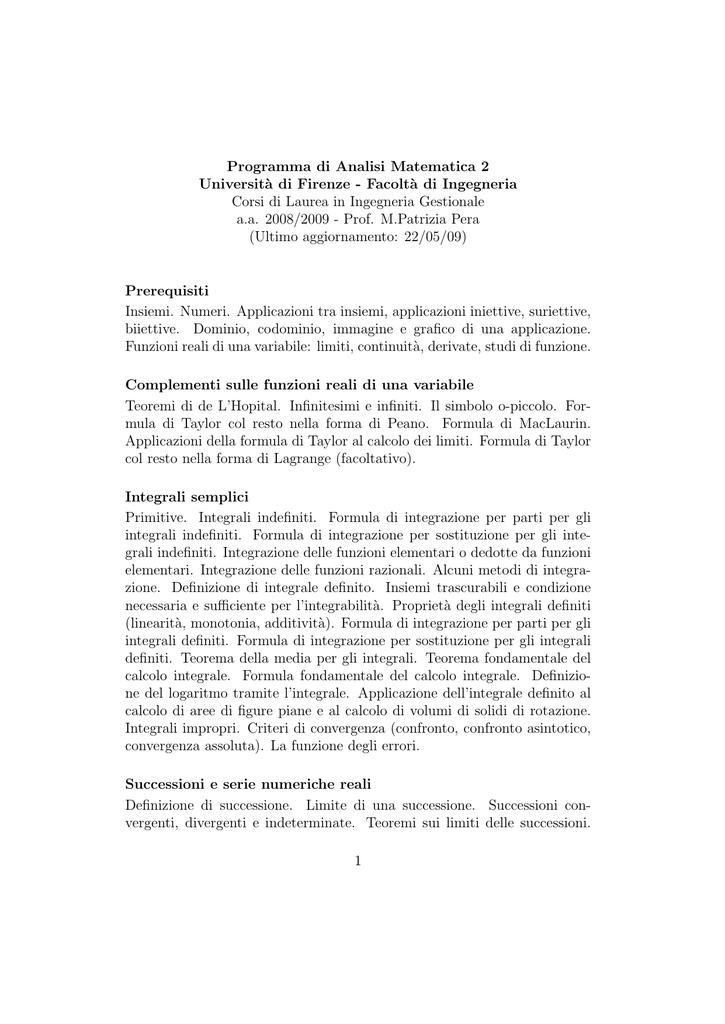 Bertsch Analisi Matematica Pdf