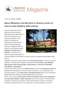 Nasce Metaphor and Narrative in Science - Sigillo di Ateneo