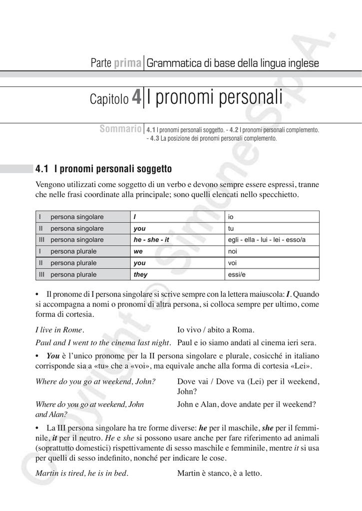Capitolo 4 i pronomi personali for Complemento d arredo in inglese