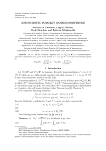 ANISOTROPIC SOBOLEV HOMEOMORPHISMS