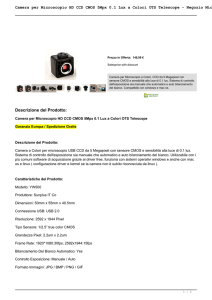 Camera per Microscopio HD CCD CMOS 5Mpx 0.1 Lux a Colori