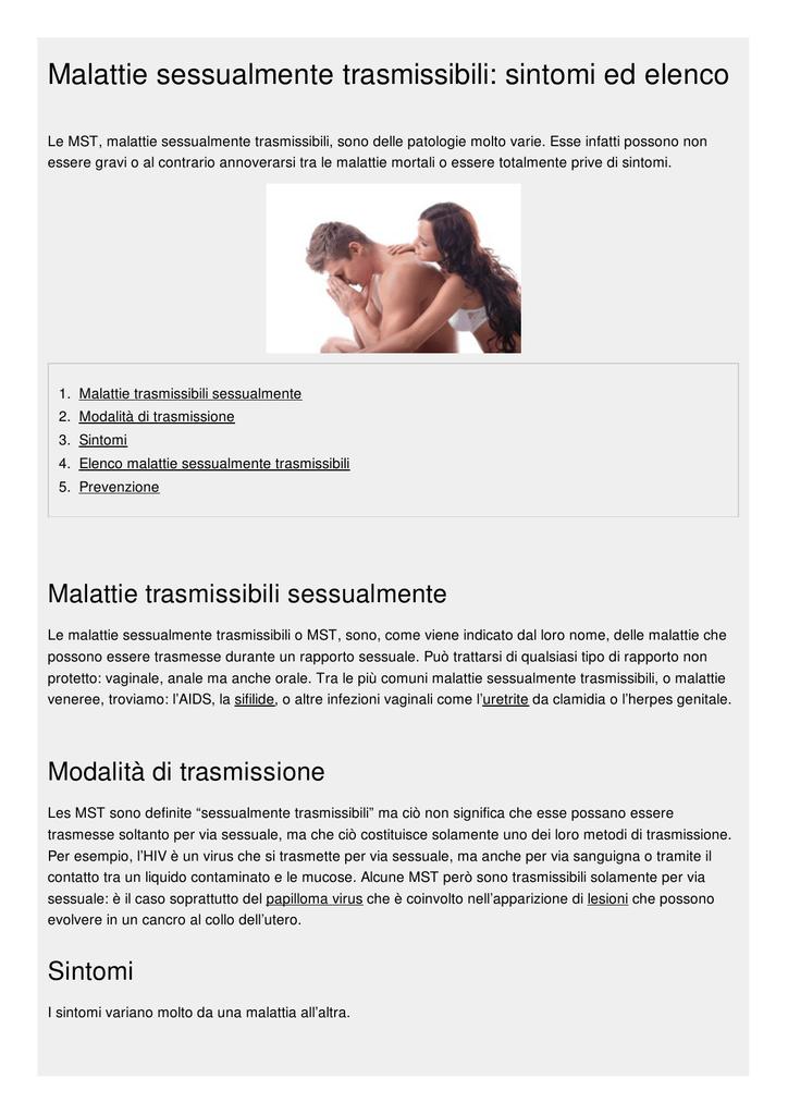 Malattie sessualmente trasmissibili dal sesso anale