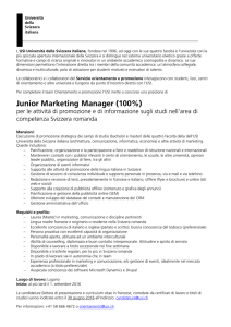 Junior Marketing Manager (100%) - Università della Svizzera italiana