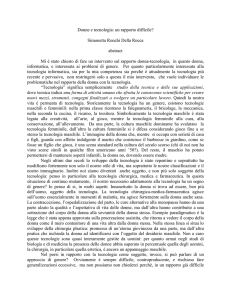 Donne e tecnologia:un rapporto difficile?. (abstract)
