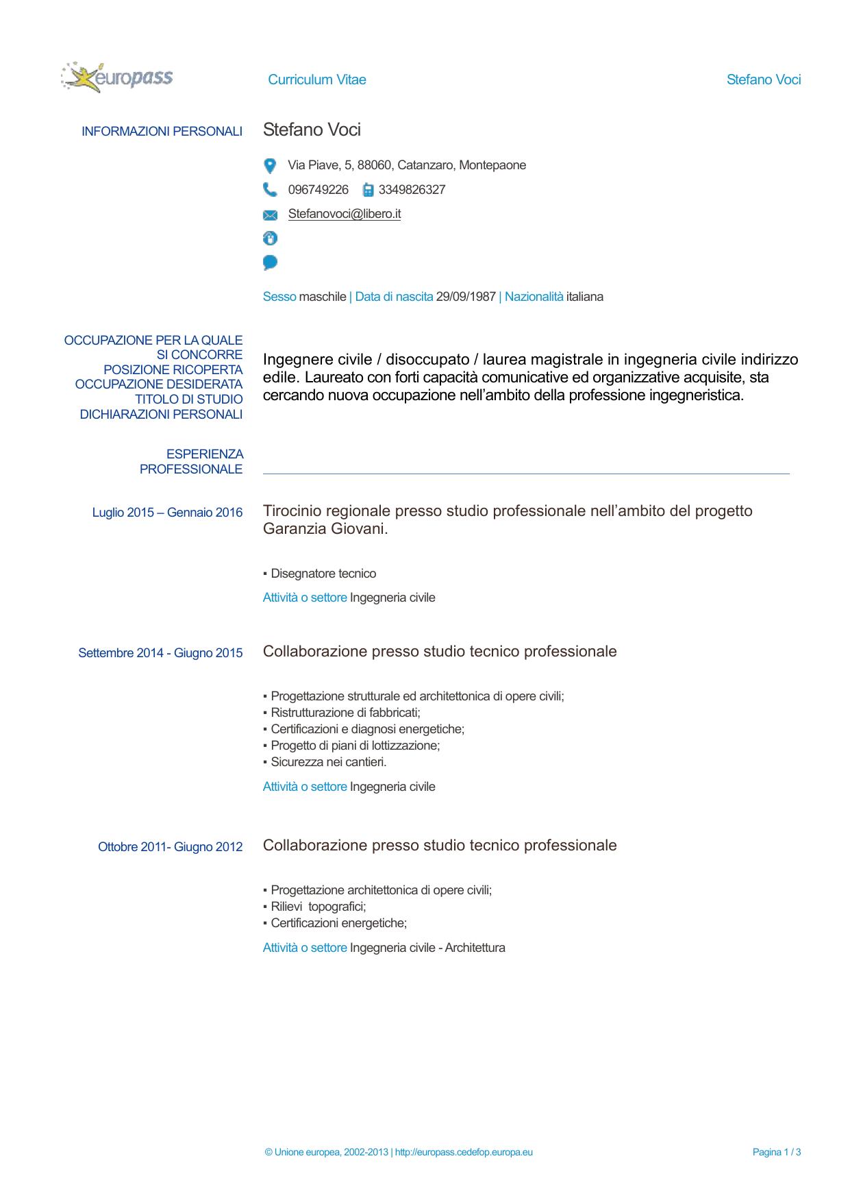 Europass CV Ordine Degli Ingegneri Della Provincia Di Milano