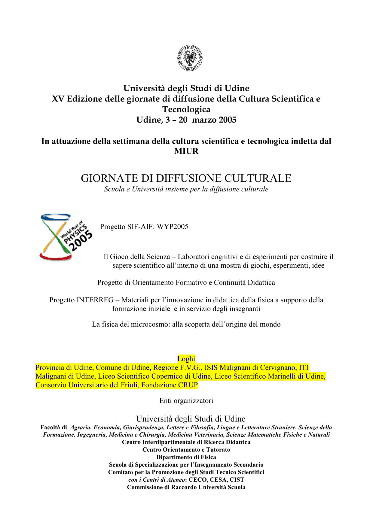 Università degli Studi di Udine XV Edizione delle giornate di