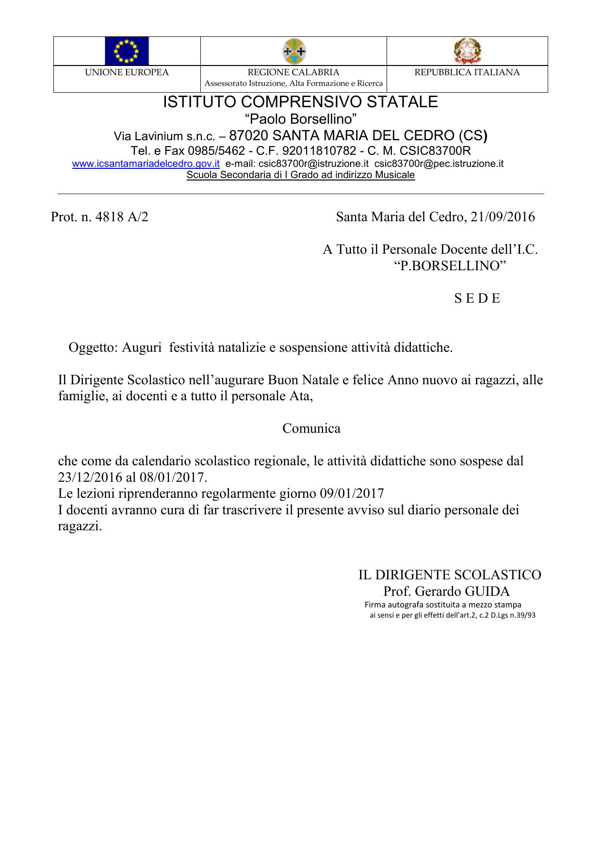 Csa Napoli Calendario Scolastico Regionale.Distretto Scolastico N 19 Ic Borsellino