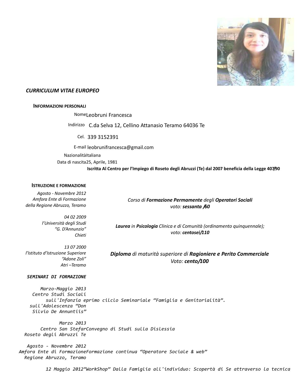 Curriculum Vitae Europeo Informazioni Personali Nome Leobruni