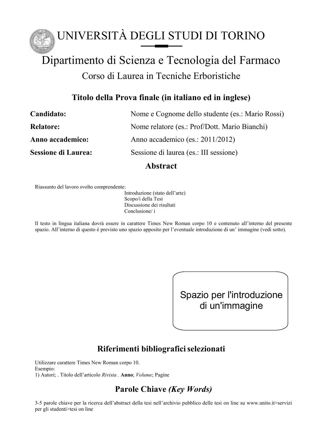 Calendario Discussione Tesi Unito.Universita Degli Studi Di Torino Facolta Di Farmacia