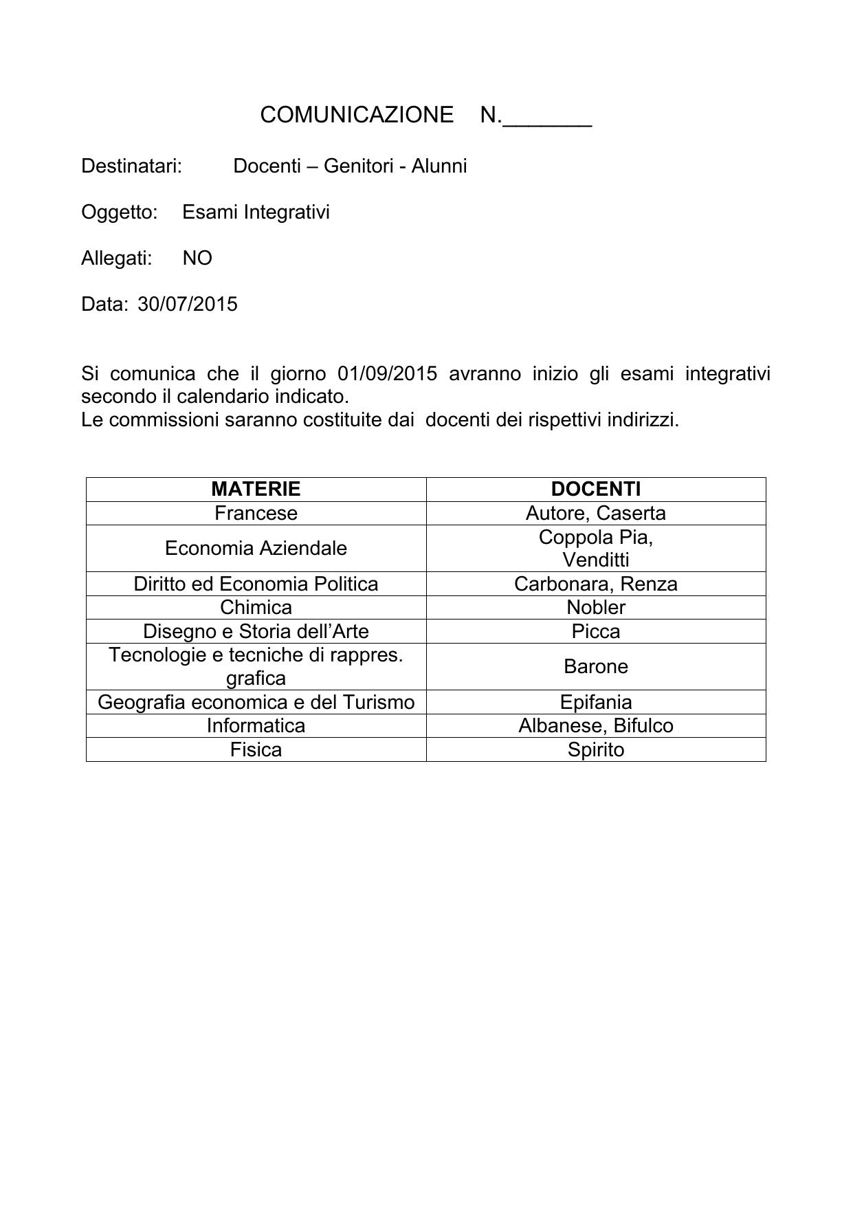Calendario Esami Unibg Economia.Esami Integrativi