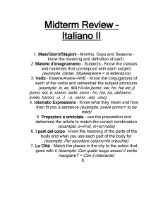 Midterm Review – Italiano I