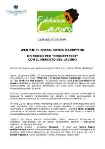 COMUNICATO STAMPA WEB 2.0: IL SOCIAL MEDIA MARKETING