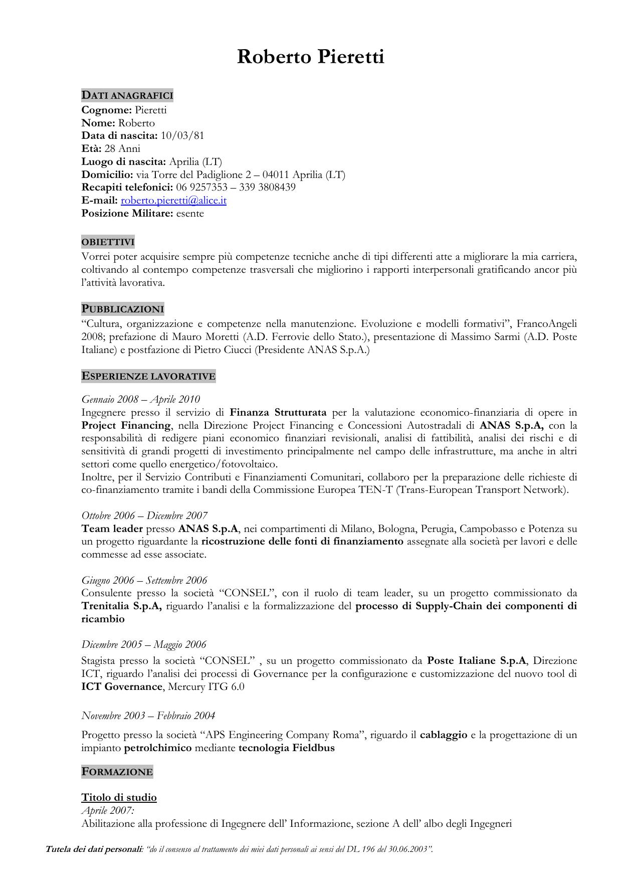 Ordine Ingegneri Potenza Albo curriculum vitae - ordine ingegneri della provincia di roma