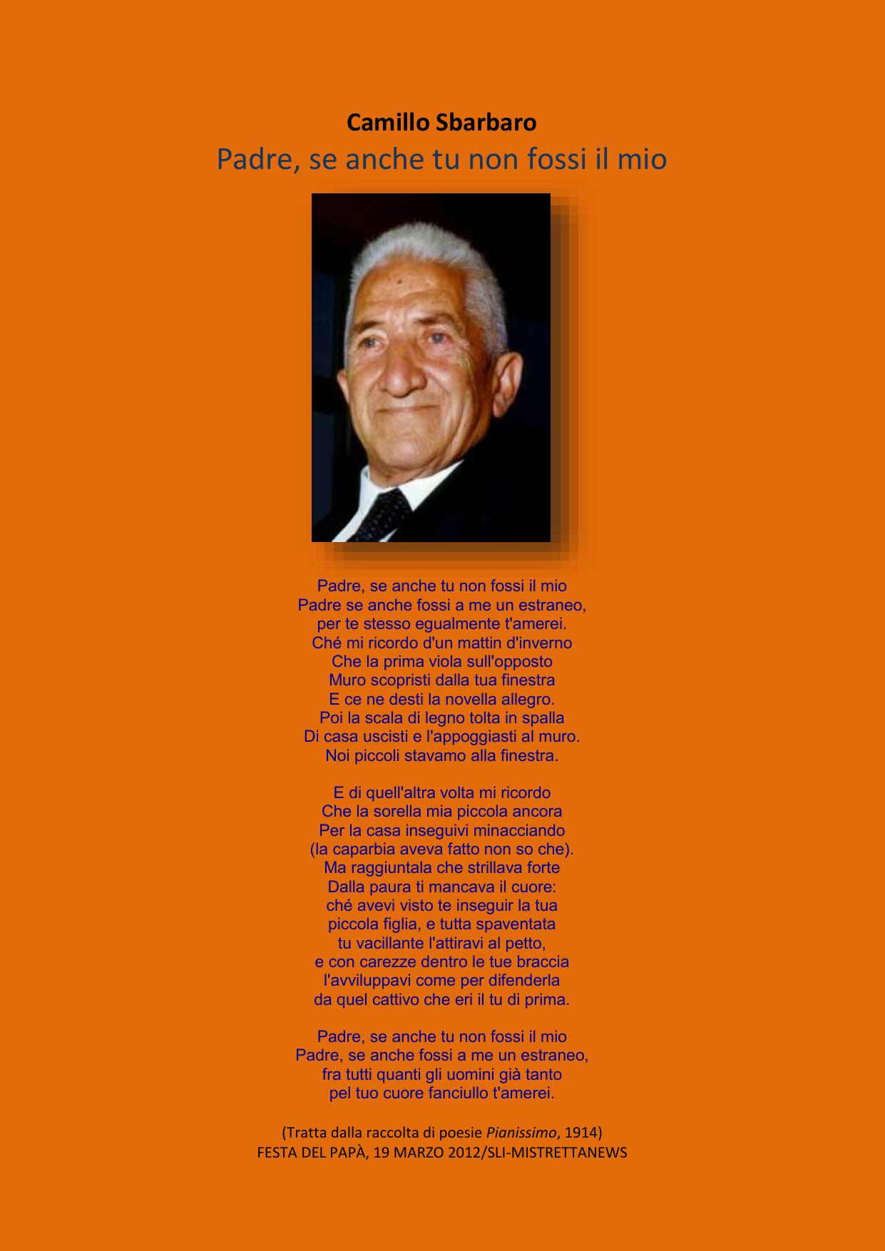 Una Poesia Per Mio Padre Di Camillo Sbarbaro