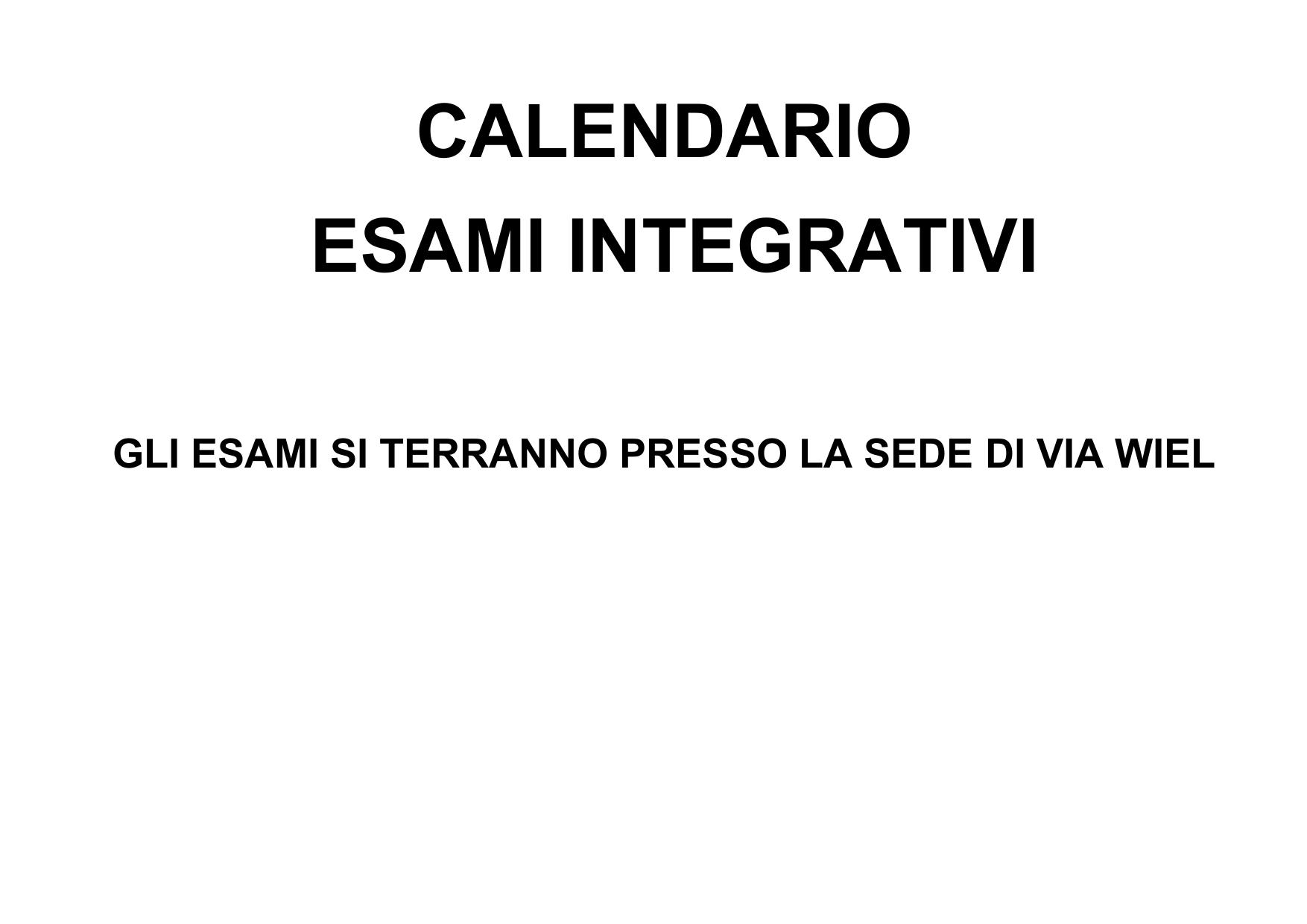Calendario Spagnolo.Calendario Docenti Esami Integrativi E Idoneita