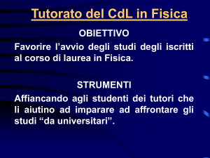 Tutorato del CdL in Fisica
