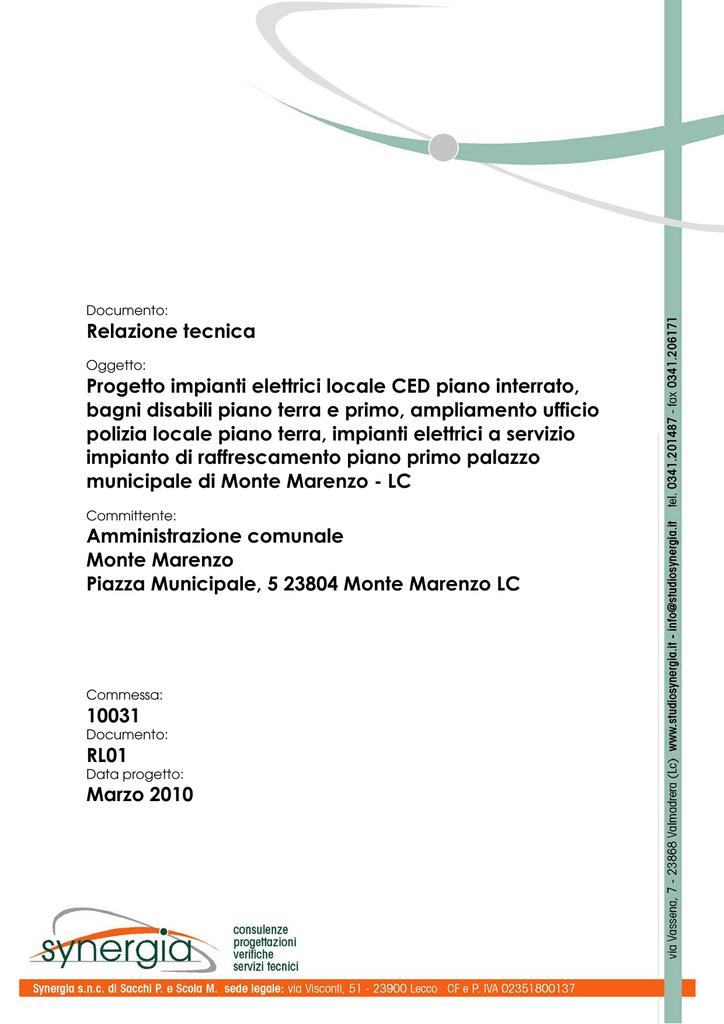 Relazione Tecnica Progetto Impianti Elettrici Locale Ced Piano