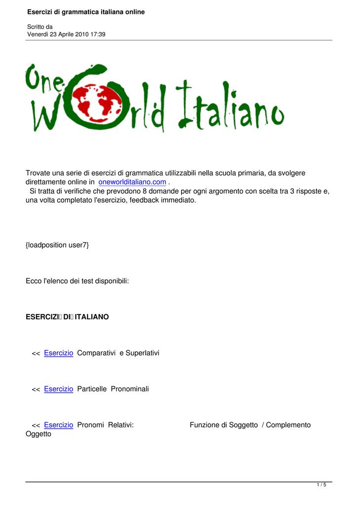 Esercizi Di Grammatica Italiana Online