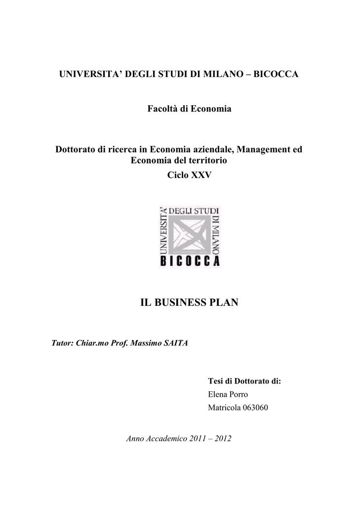 PIANO DIMPRESA (BUSINESS PLAN).