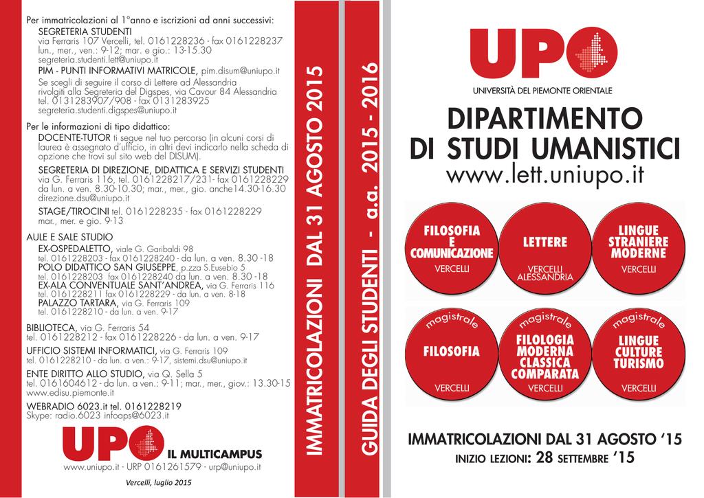Disum Calendario Esami.Guida Degli Studenti Universita Degli Studi Del Piemonte