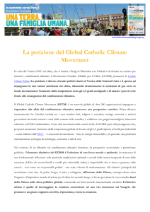 La petizione del Global Catholic Climate Movement