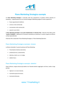 Piano Marketing Strategico esempio