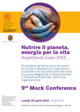 Nutrire il pianeta, energia per la vita 9th Mock Conference