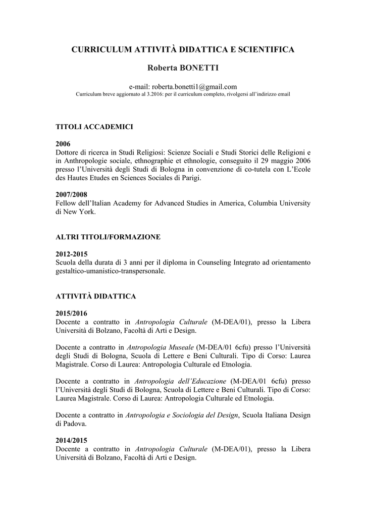 40bea34b1aeff3 cv roberta bonetti 2016 - Dipartimento Storia Culture Religioni